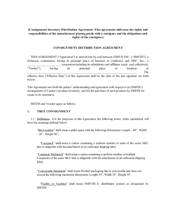Consignment Stock Contract Template 12 Sample Consignment Agreement Templates Word Pdf