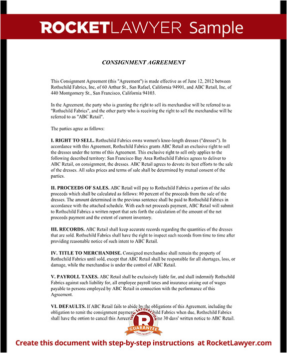 consignment agreement rl