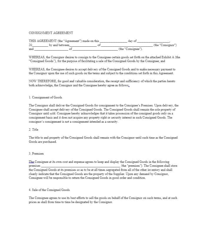 Consignment Store Contract Template 40 Best Consignment Agreement Templates forms ᐅ
