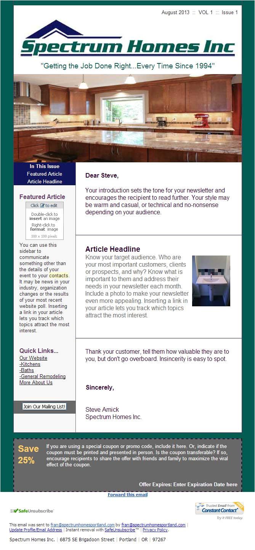 constant contact newsletter design spectrum home builders