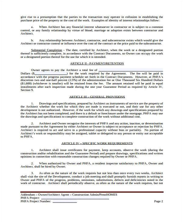 sample construction contract form