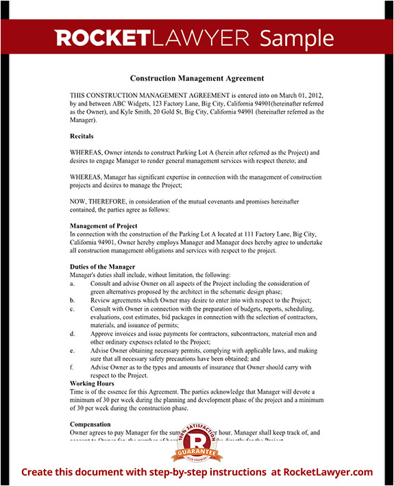 Construction Project Manager Contract Template Construction Management Agreement Contract form with Sample