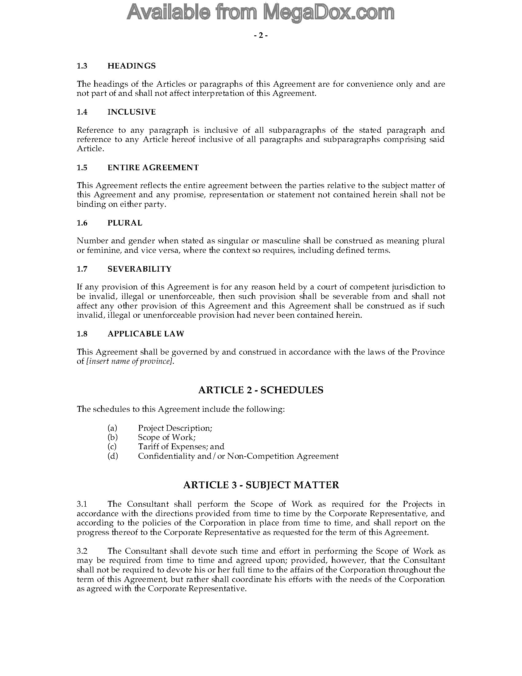 canada consulting contract and confidentiality agreement