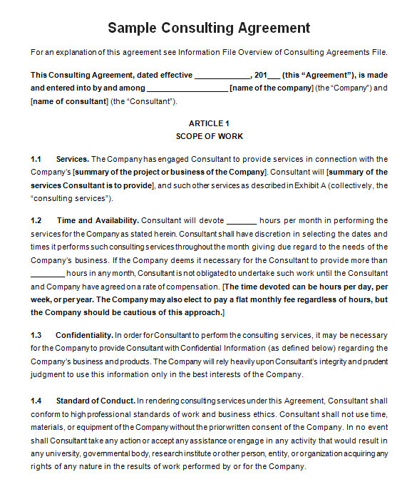 Consulting Contracts Templates 17 Consulting Contract Templates Docs Pages Free