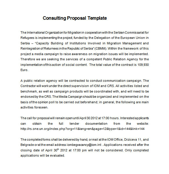 consulting proposal template sample