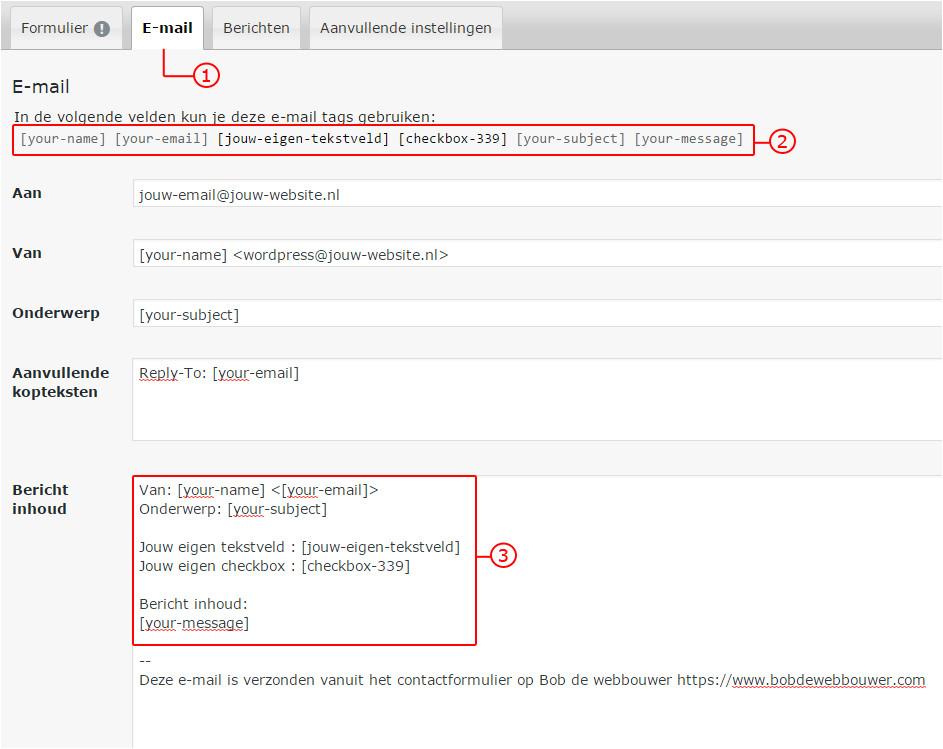 contact form 7 handleiding contactformulier site