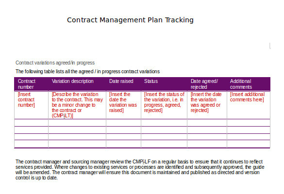Contract Administration Plan Template Contract Tracking Template 9 Free Word Excel Pdf