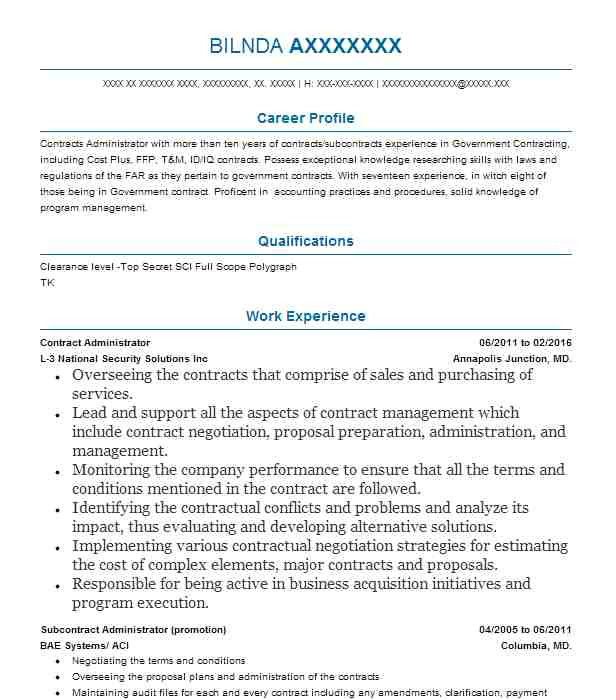 Contract Administrator Resume Template Contract Administrator Resume Sample Livecareer
