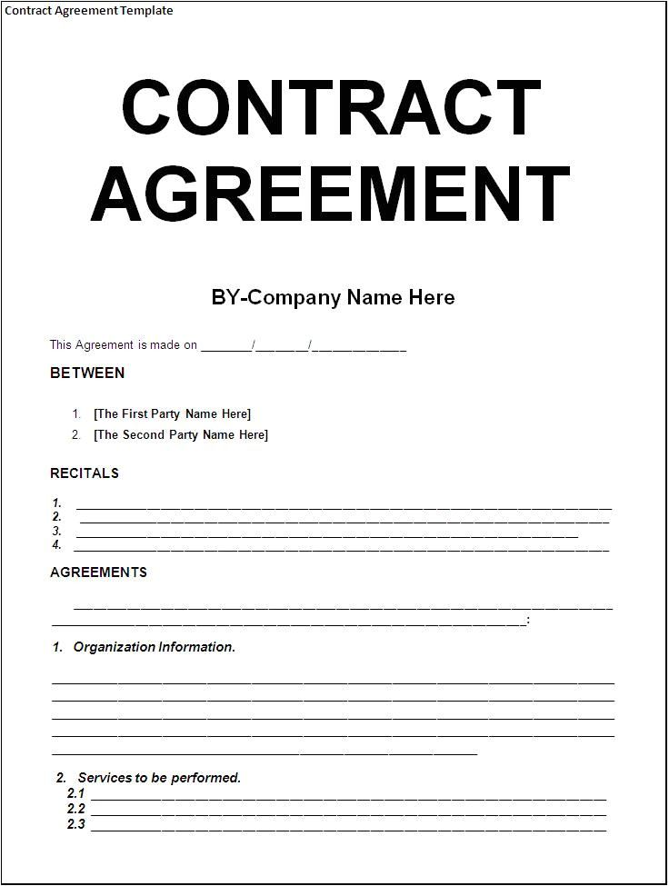 Contract Agreement Template Free Simple Template Example Of Contract Agreement Between Two