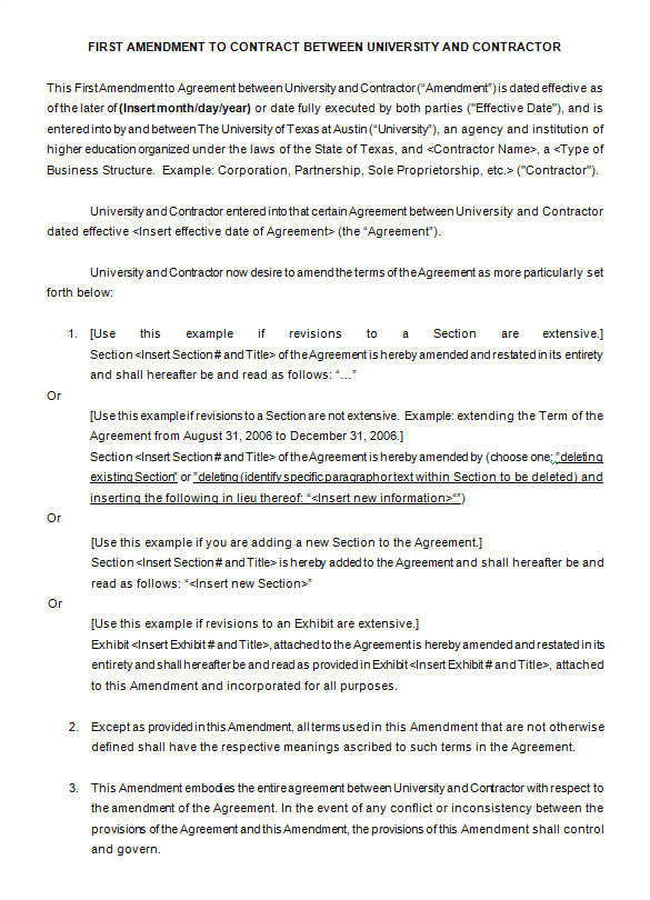Contract Amendment form Template 9 Contract Amendment Templates Word Pdf Google Docs