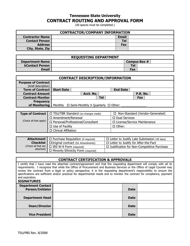 contract routing and approval form tennessee state univer