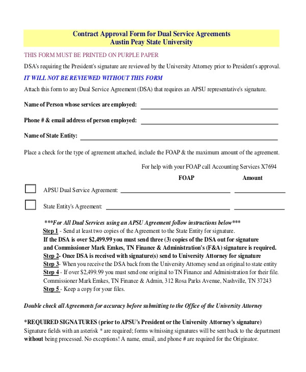 service contract approval form
