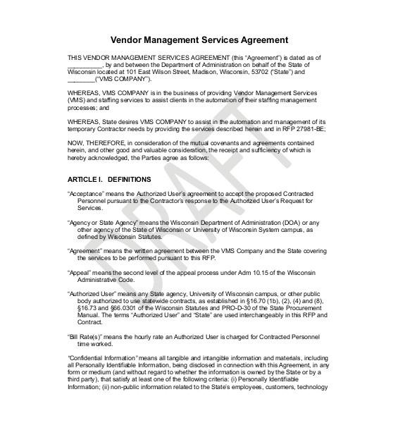 sample vendor agreement
