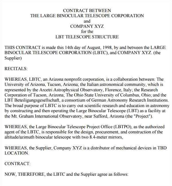 contract between two companies template