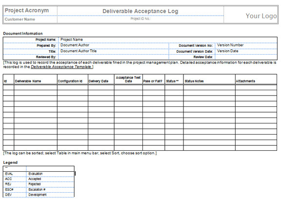 deliverables template free download