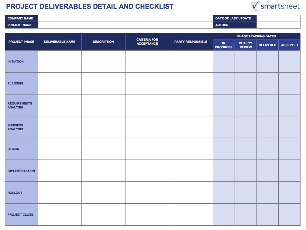 Contract Deliverables Template tools for Defining and Tracking Project Deliverables
