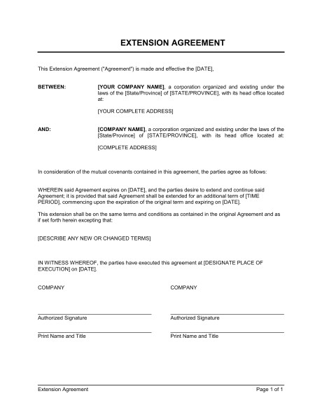 Contract Extension Letter Template Extension Of Agreement Template Word Pdf by Business