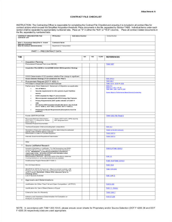 Contract File Checklist Template 44 Sample Checklist Samples Templates Free Samples In