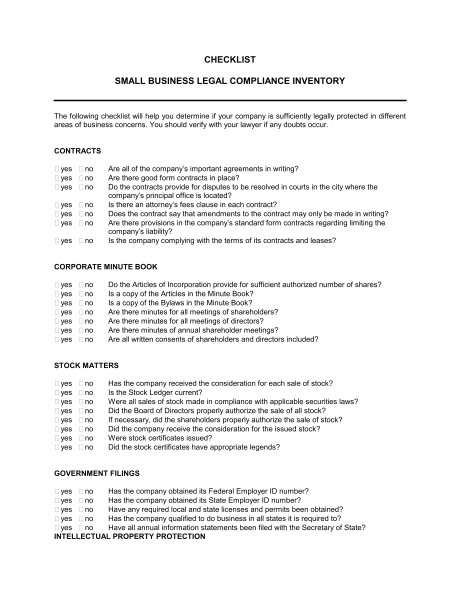 checklist small business legal compliance inventory d864