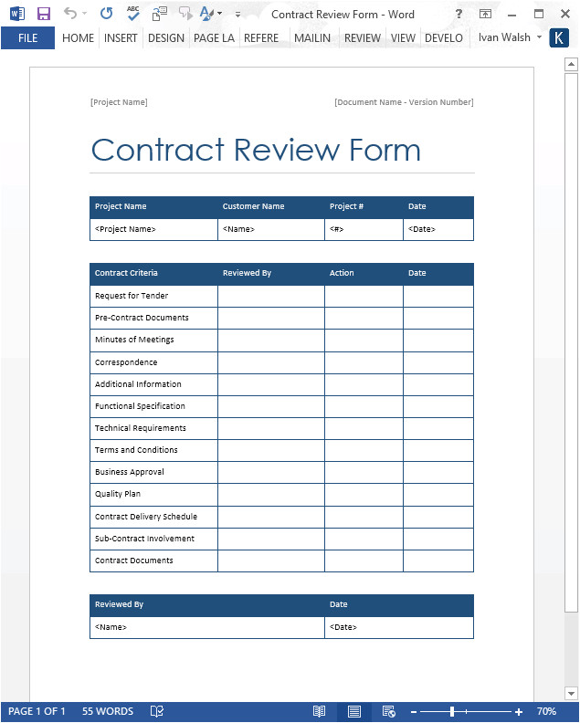 Contract File Checklist Template Contract Review form Word Template software Testing