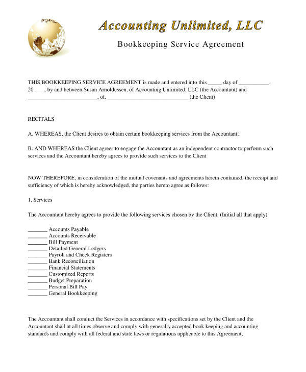 bookkeeping non disclosure agreement templates