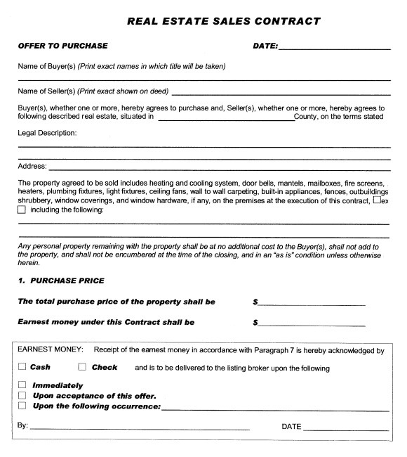 sample real estate purchase agreement