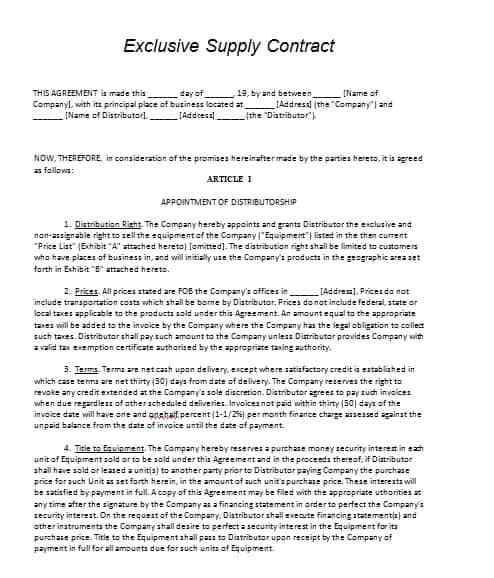 supply contract template