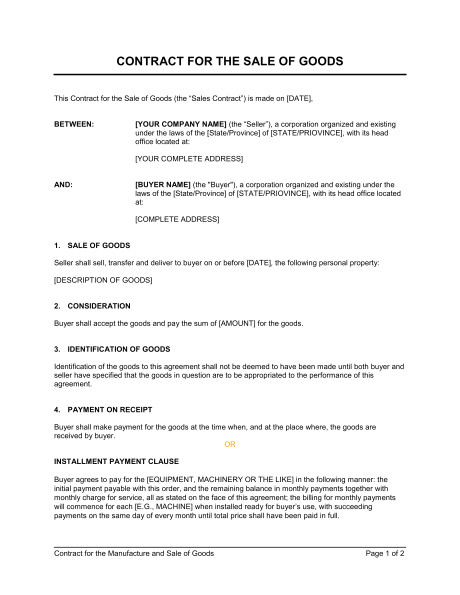 Contract for Sale Of Goods Template Free Contract for the Sale Of Goods Template Sample form