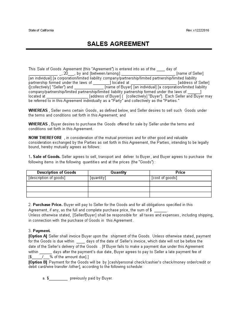 contract sale of goods example word format