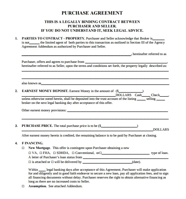 Contract for Sale Of Property Template Sample Real Estate Purchase Agreement Template 14 Free