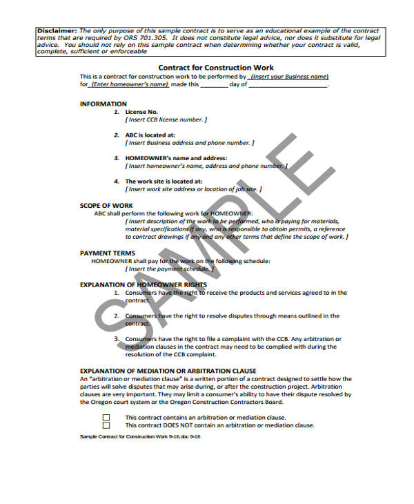 work contract template