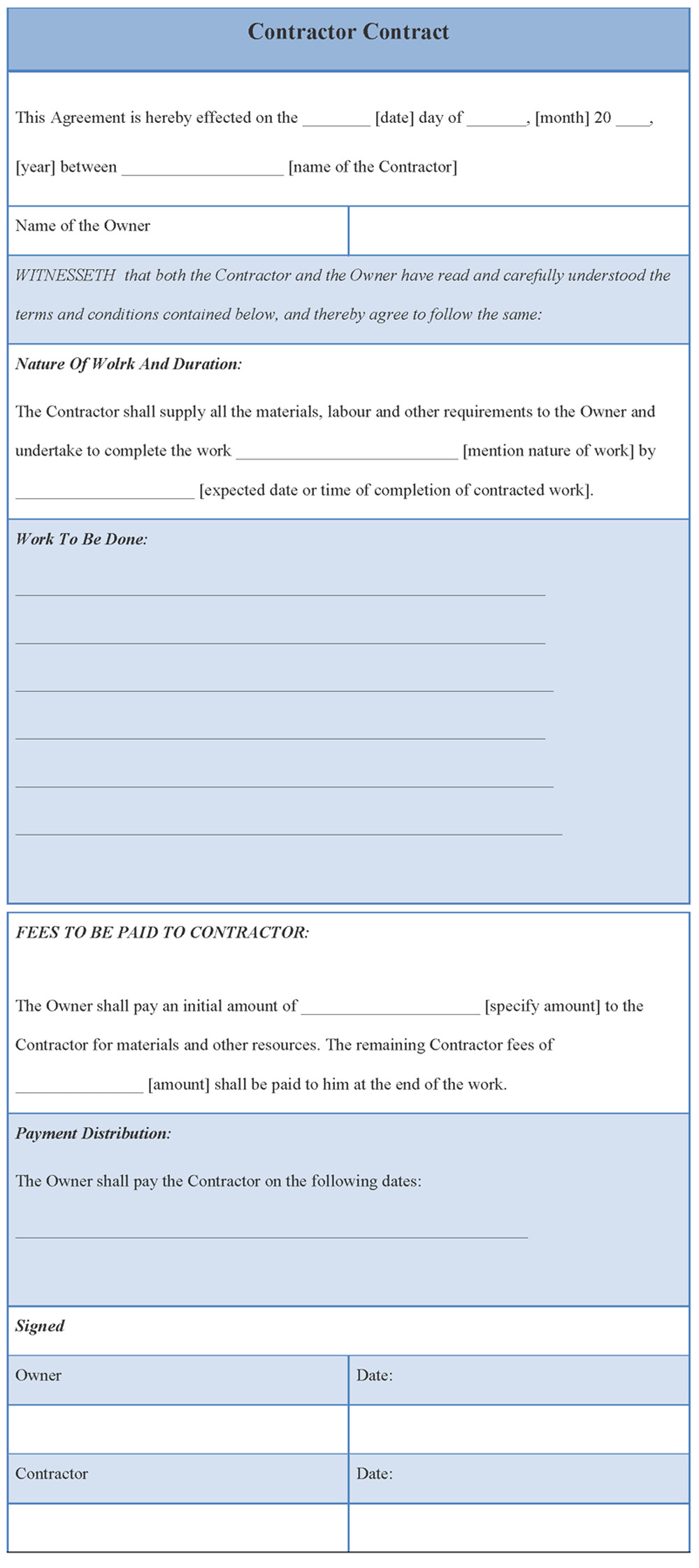 qualified contractor contract agreement template example featuring work to be done note