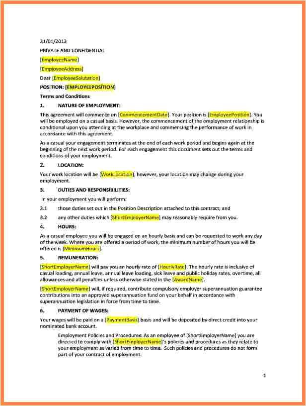 6 employment agreement template australia