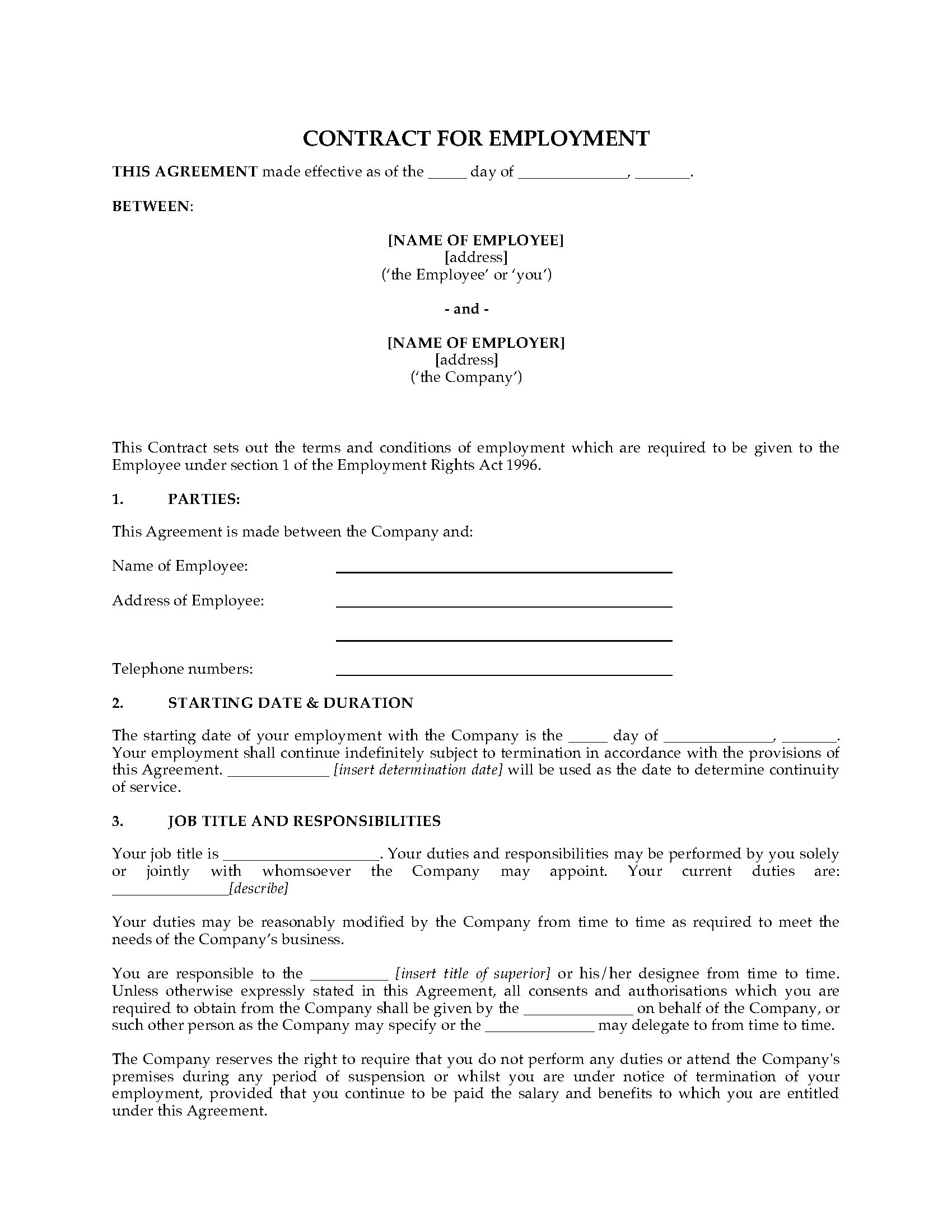 uk employment contract template