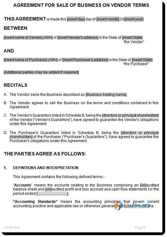 contract for sale of business on vendor terms
