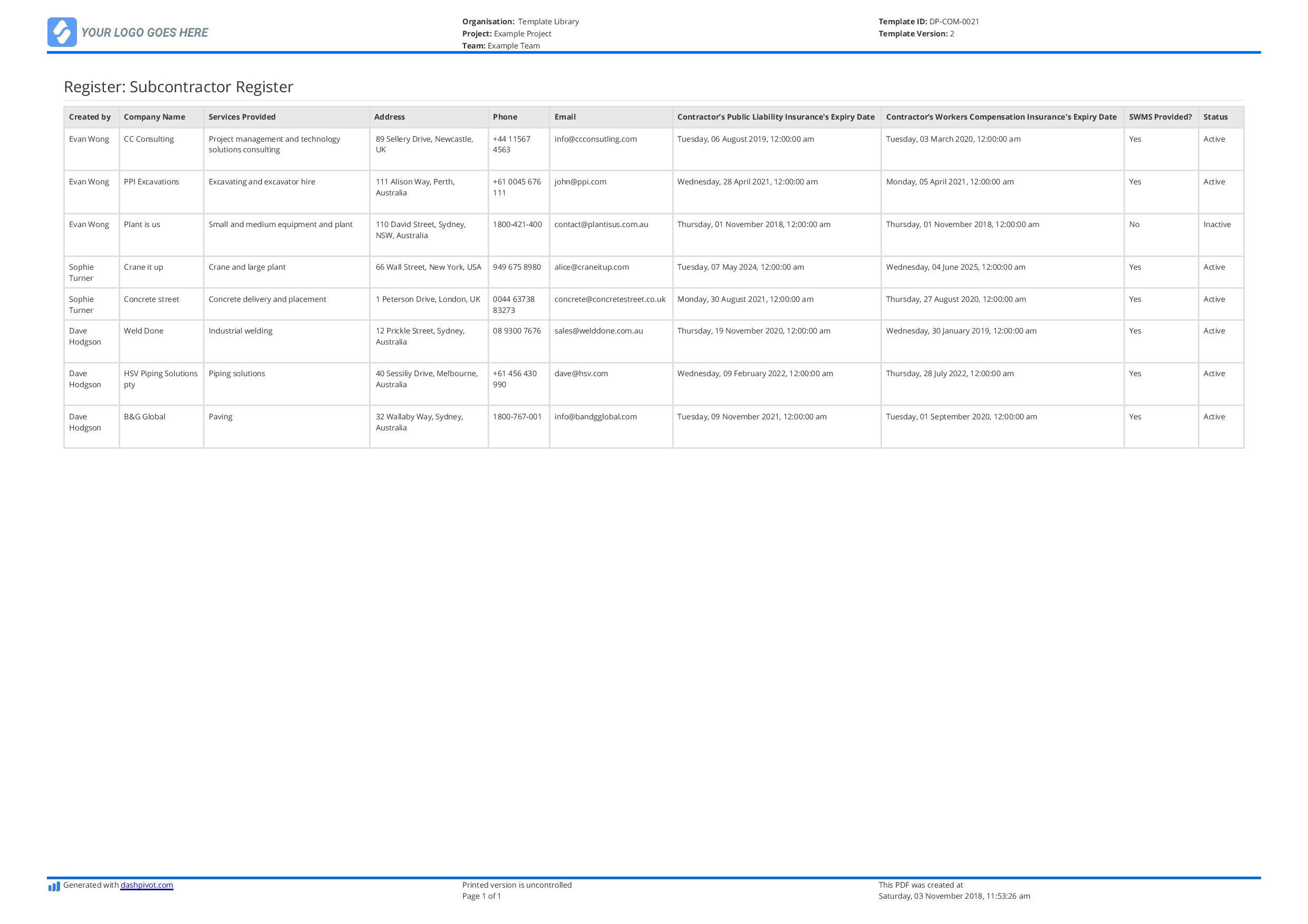 contractor register template