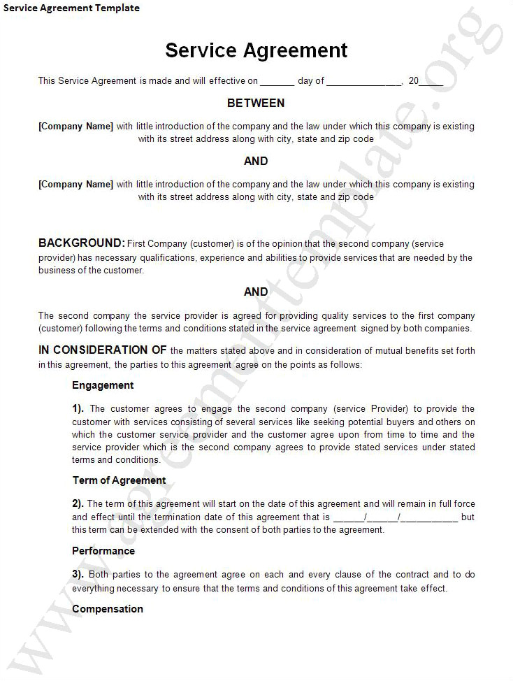 Contract Service Agreement Template Agreement Template Category Page 1 Efoza Com