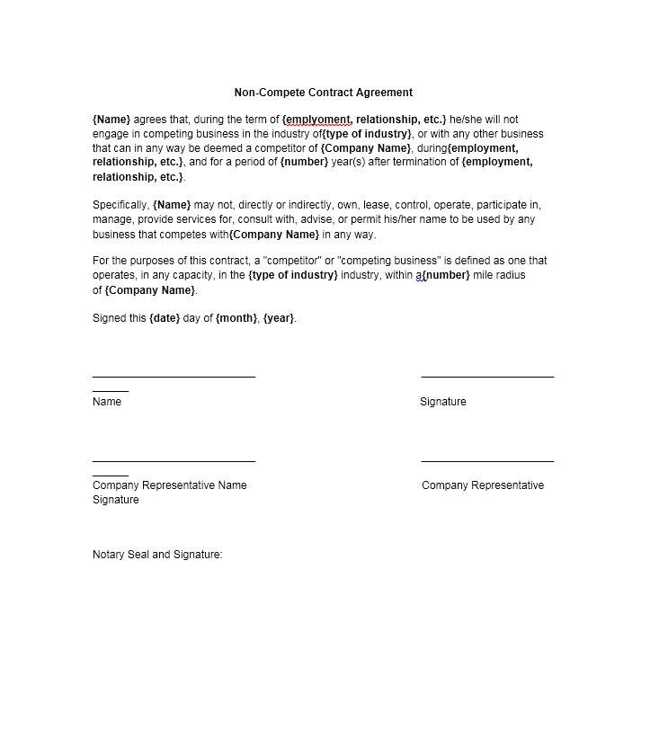 non compete agreement
