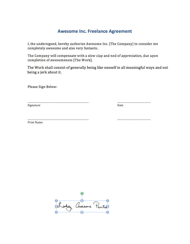 Contract Signature Page Template Signing Digital Contracts Adding Your Signature to A Ms