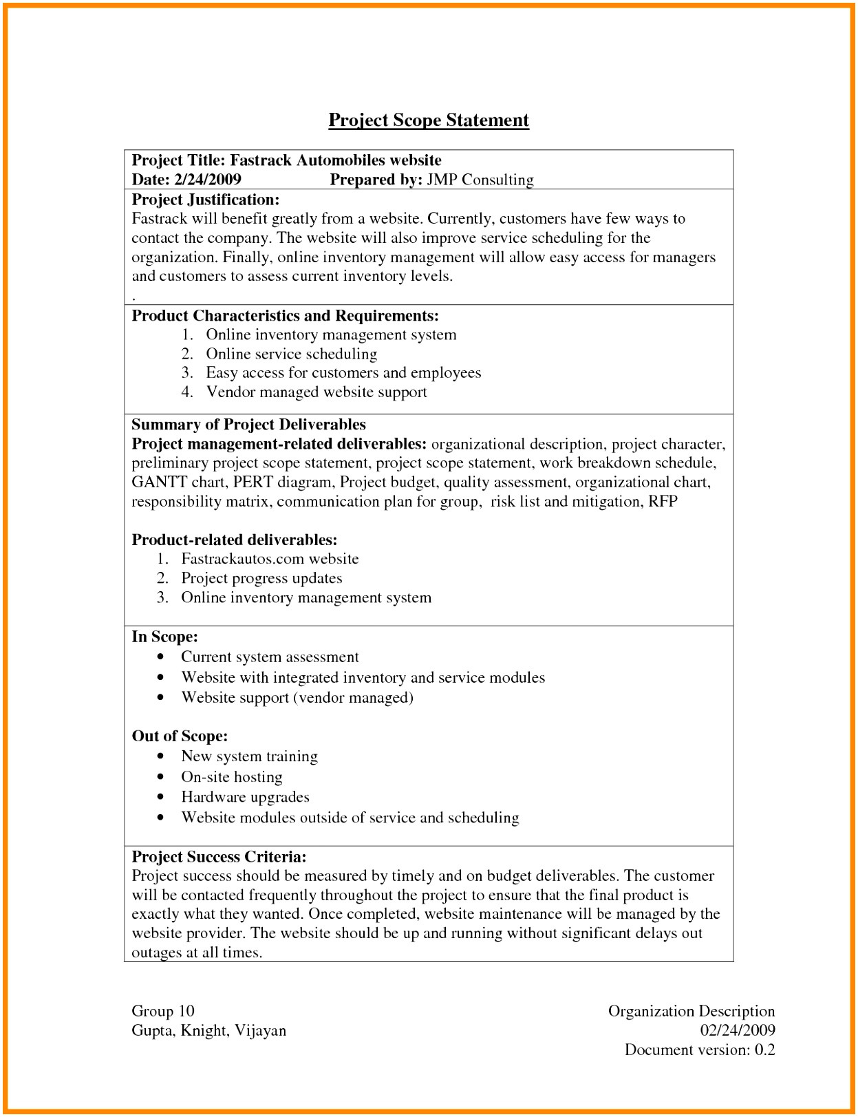 contract statement of work template