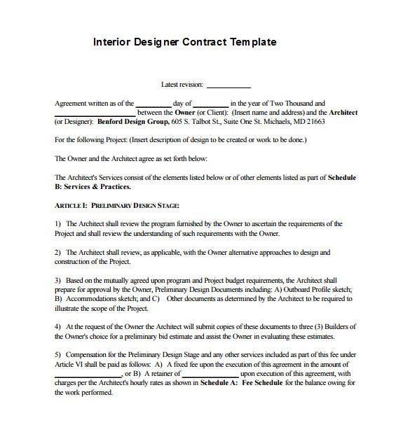 interior designer contract template