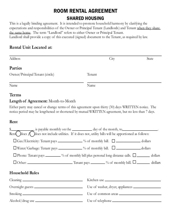 Contract Template for Renting A Room Room Rental Agreement Template 12 Free Word Pdf Free