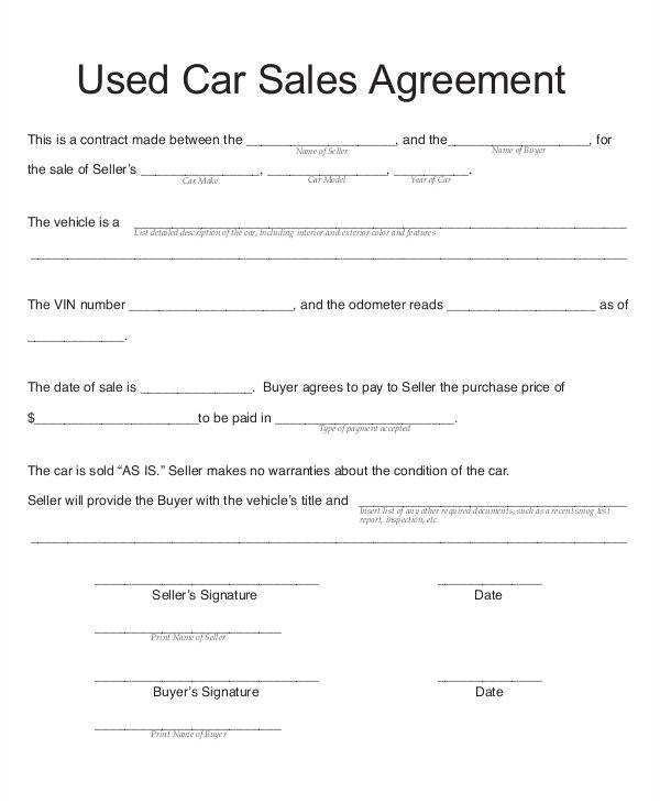 Contract Template for Selling A Car Privately 8 Car Sales Contract Samples Templates In Pdf