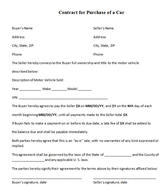car selling contract template