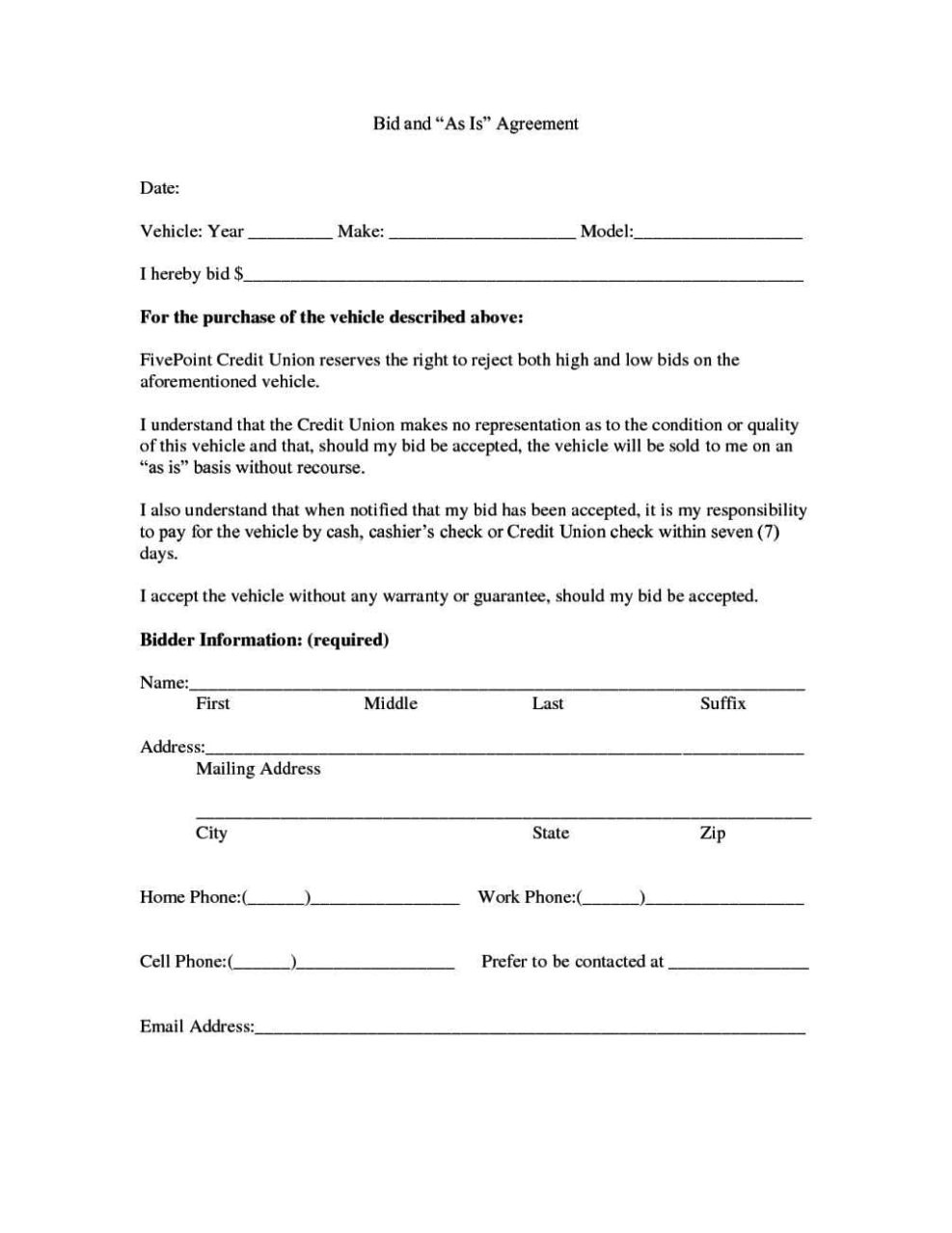 contract template for selling a car privately