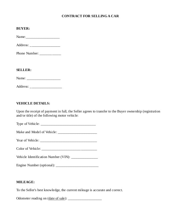 car sale contract form