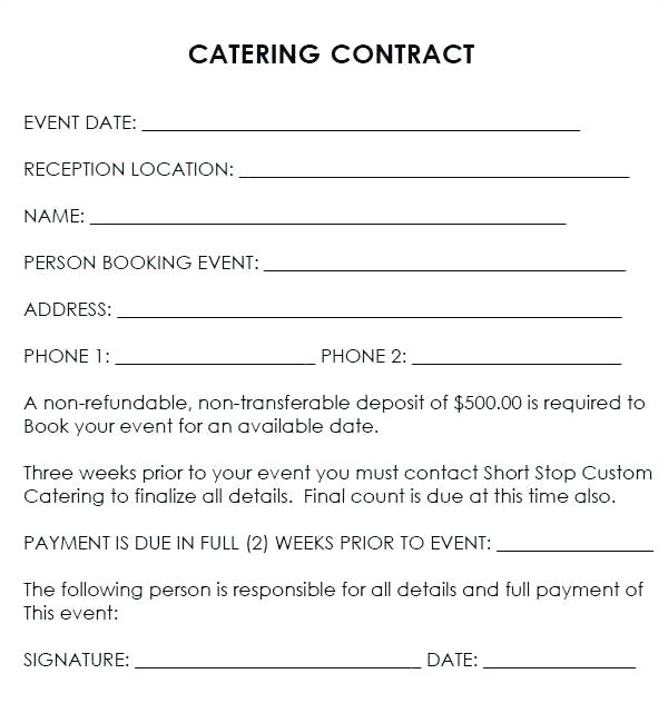 best of catering contract template word