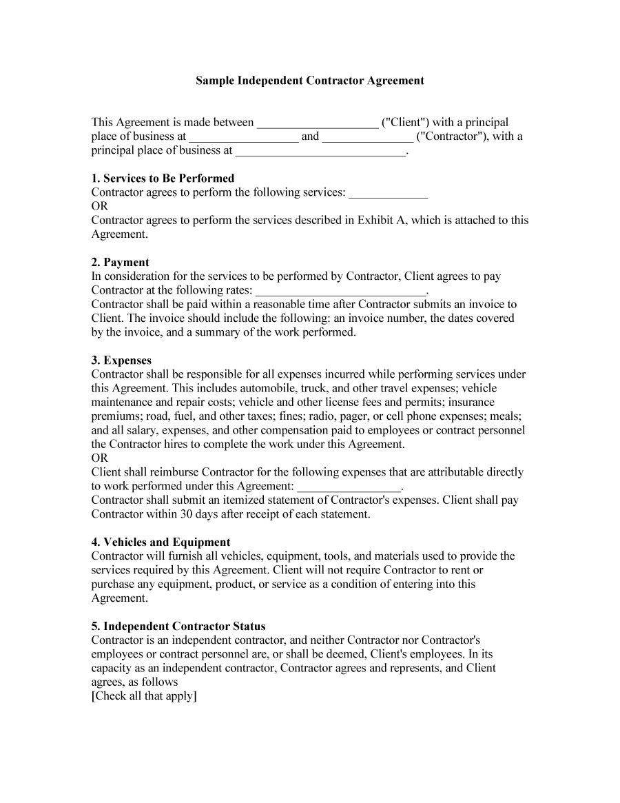 independent contractor agreement