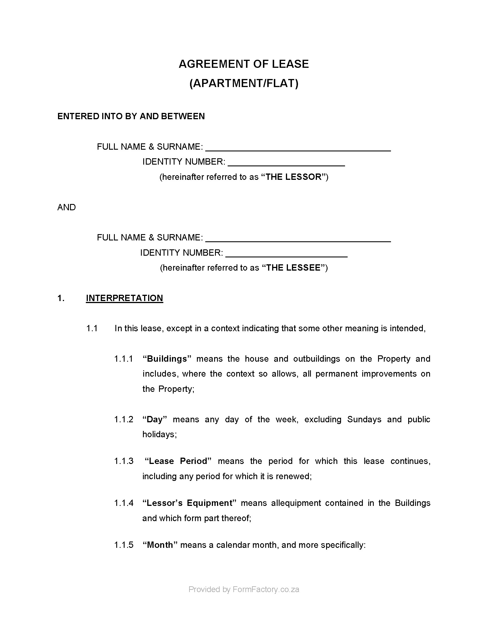 Contract Templates south Africa Download Residential Lease Agreement Template formfactory