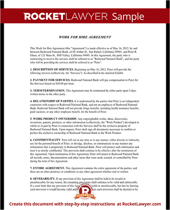 work for hire agreement rl
